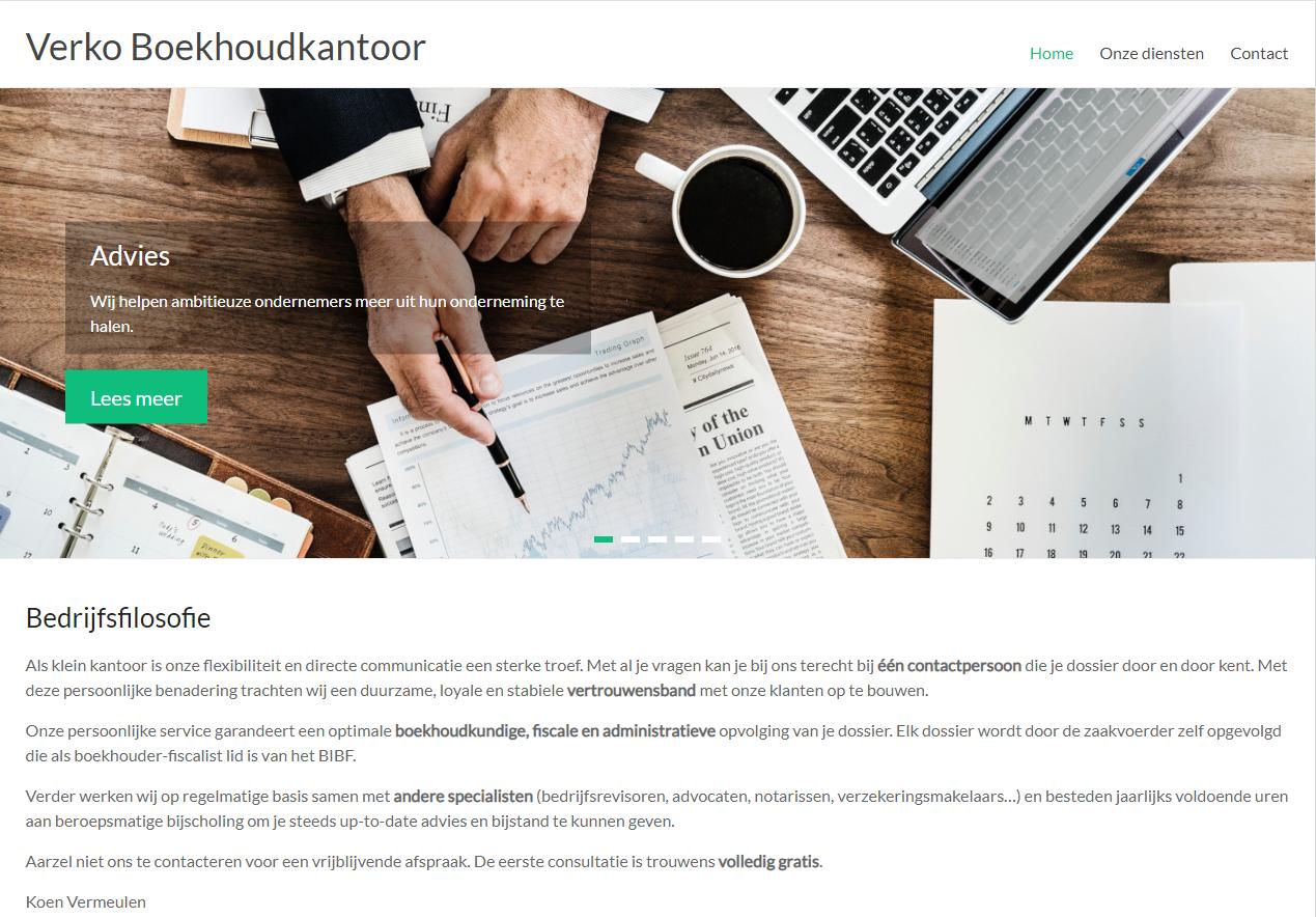 Verko Boekhoudkantoor Screenshot homepage